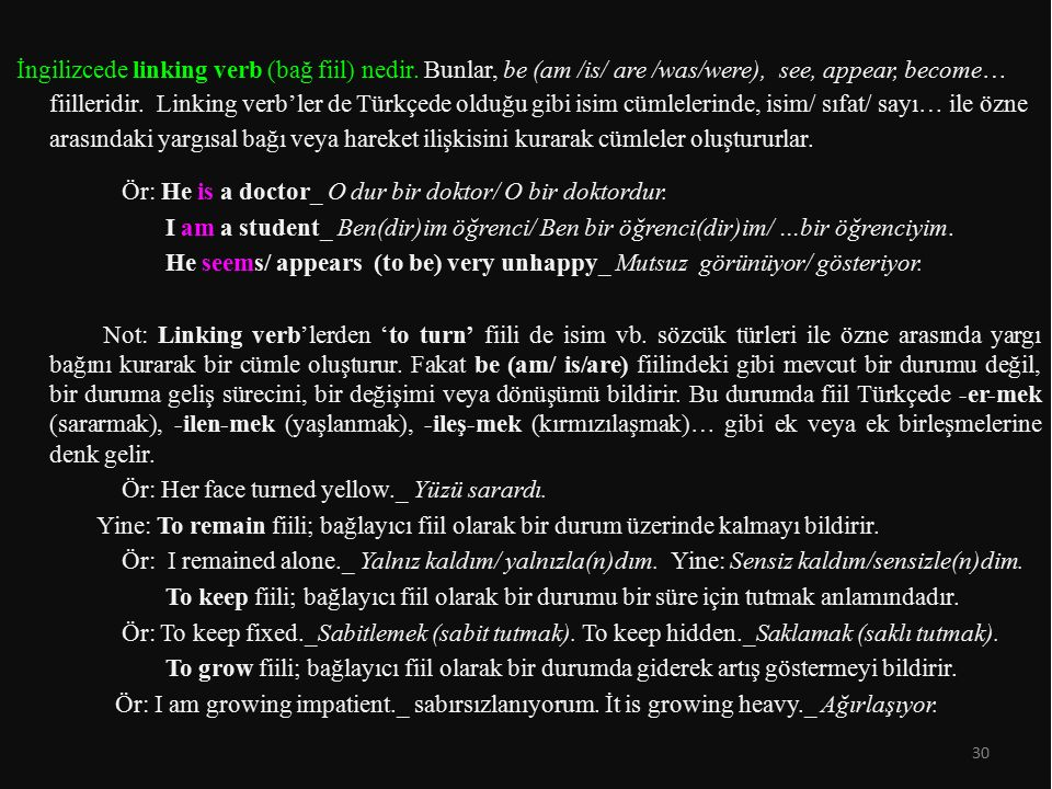 İngilizcede linking verb (bağ fiil) nedir. Bunlar, be (am /is/ are /was/were), see, appear, become… fiilleridir. Linking verb'ler de Türkçede olduğu g