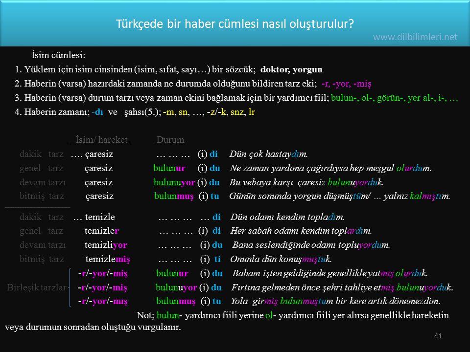 Türkçede bir haber cümlesi nasıl oluşturulur? İsim cümlesi: 1. Yüklem için isim cinsinden (isim, sıfat, sayı…) bir sözcük; doktor, yorgun 2. Haberin (