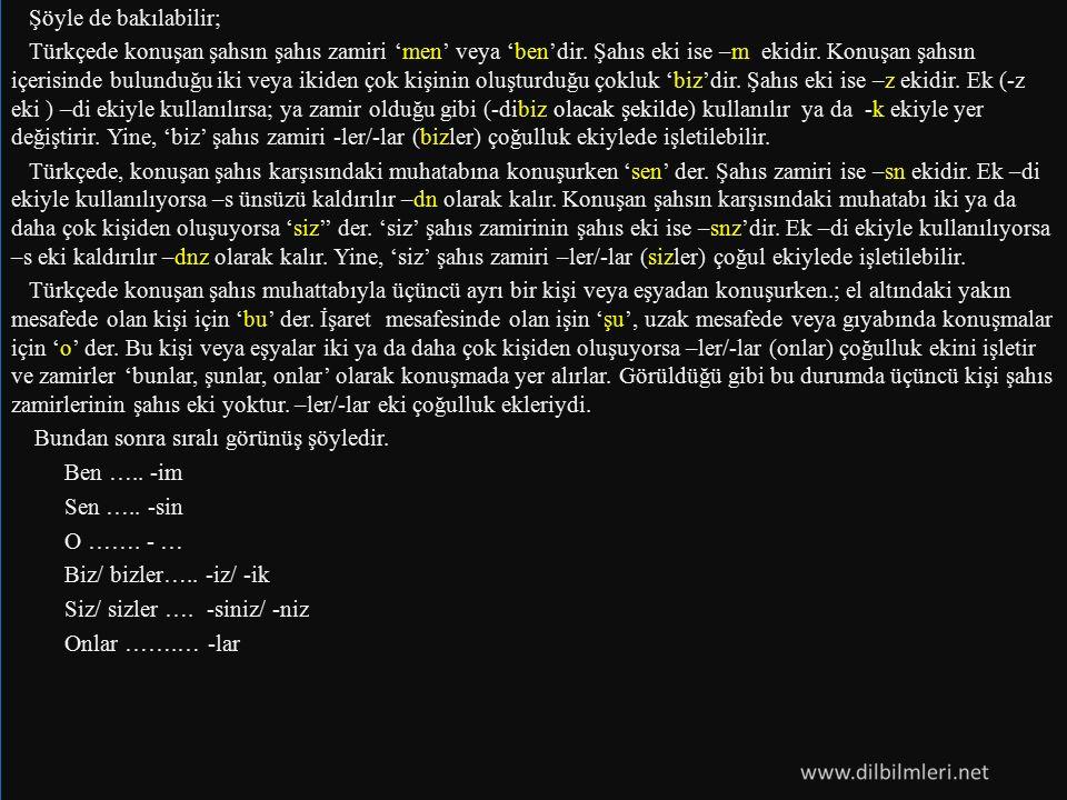 Şöyle de bakılabilir; Türkçede konuşan şahsın şahıs zamiri 'men' veya 'ben'dir.