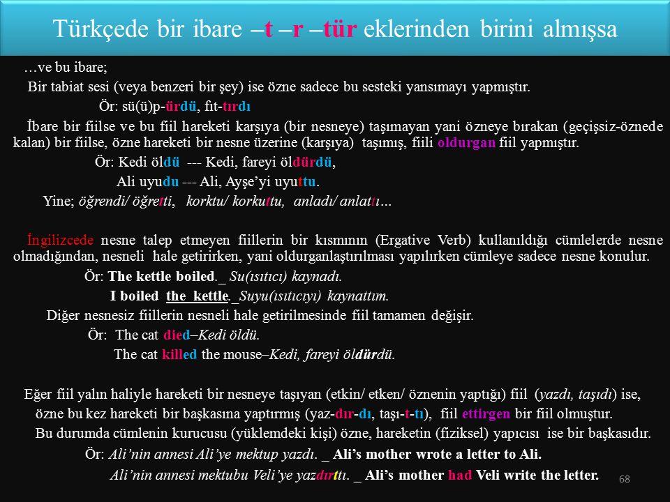Türkçede bir ibare –t –r –tür eklerinden birini almışsa … ve bu ibare; Bir tabiat sesi (veya benzeri bir şey) ise özne sadece bu sesteki yansımayı yap