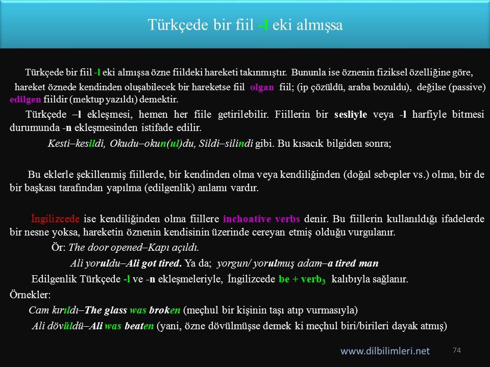 Türkçede bir fiil -l eki almışsa Türkçede bir fiil -l eki almışsa özne fiildeki hareketi takınmıştır. Bununla ise öznenin fiziksel özelliğine göre, ha