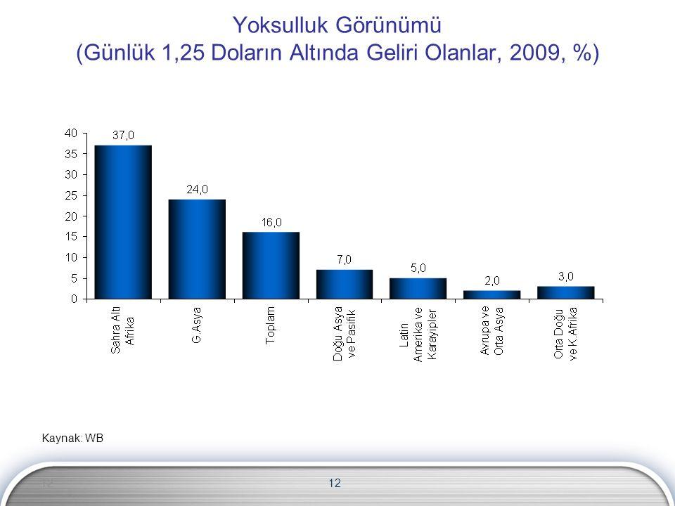 12 Yoksulluk Görünümü (Günlük 1,25 Doların Altında Geliri Olanlar, 2009, %) Kaynak: WB