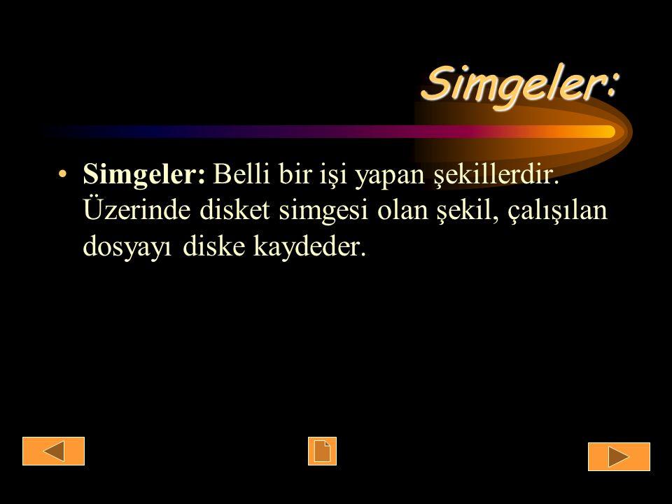 Simgeler: Simgeler: Belli bir işi yapan şekillerdir. Üzerinde disket simgesi olan şekil, çalışılan dosyayı diske kaydeder.