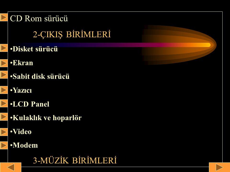 CD Rom sürücü 2-ÇIKIŞ BİRİMLERİ Disket sürücü Ekran Sabit disk sürücü Yazıcı LCD Panel Kulaklık ve hoparlör Video Modem 3-MÜZİK BİRİMLERİ