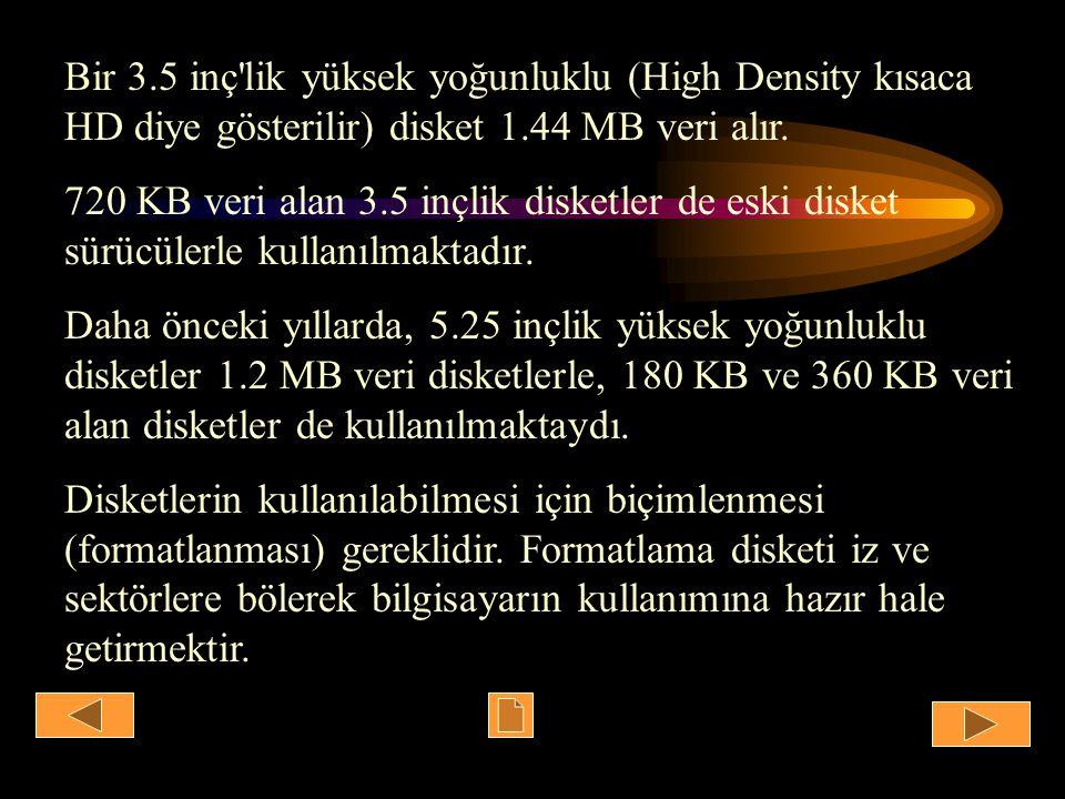 Bir 3.5 inç'lik yüksek yoğunluklu (High Density kısaca HD diye gösterilir) disket 1.44 MB veri alır. 720 KB veri alan 3.5 inçlik disketler de eski dis