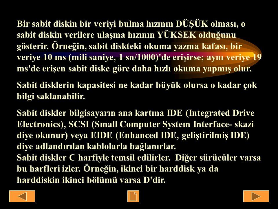Bir sabit diskin bir veriyi bulma hızının DÜŞÜK olması, o sabit diskin verilere ulaşma hızının YÜKSEK olduğunu gösterir. Örneğin, sabit diskteki okuma