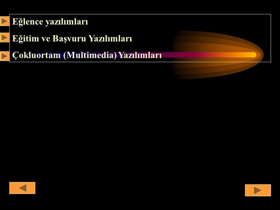 Eğlence yazılımları Eğitim ve Başvuru Yazılımları Çokluortam (Multimedia) Yazılımları