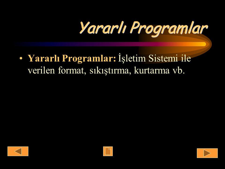 Yararlı Programlar Yararlı Programlar: İşletim Sistemi ile verilen format, sıkıştırma, kurtarma vb.