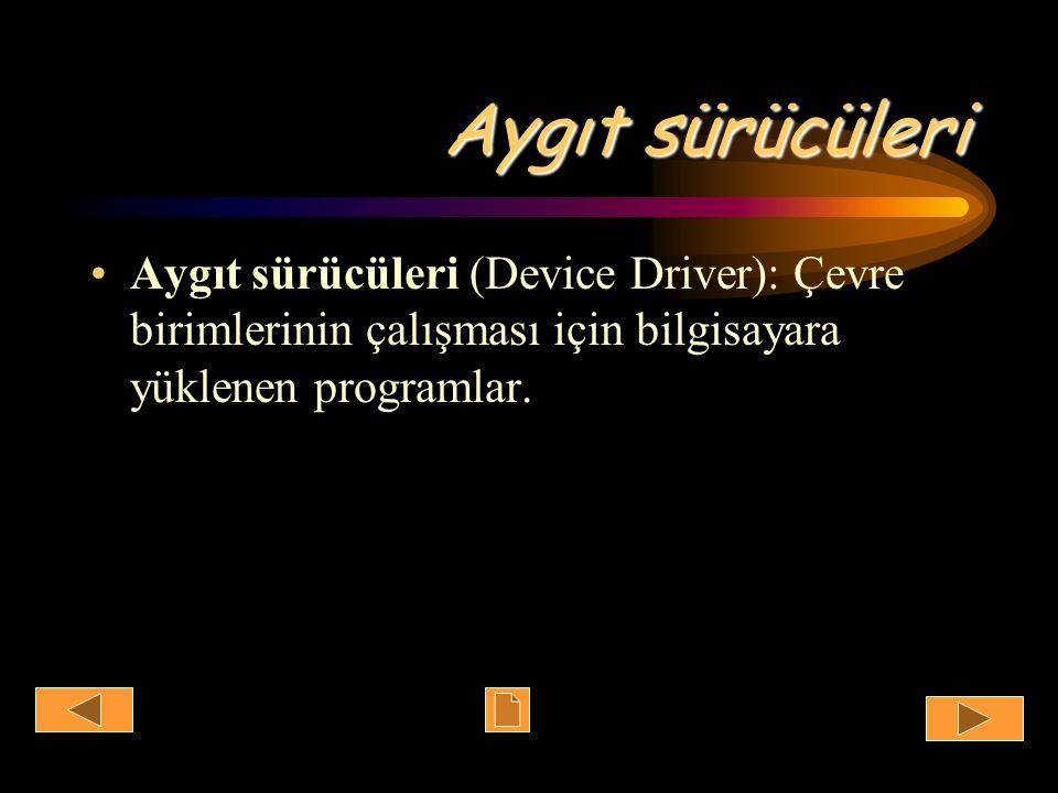 Aygıt sürücüleri Aygıt sürücüleri (Device Driver): Çevre birimlerinin çalışması için bilgisayara yüklenen programlar.