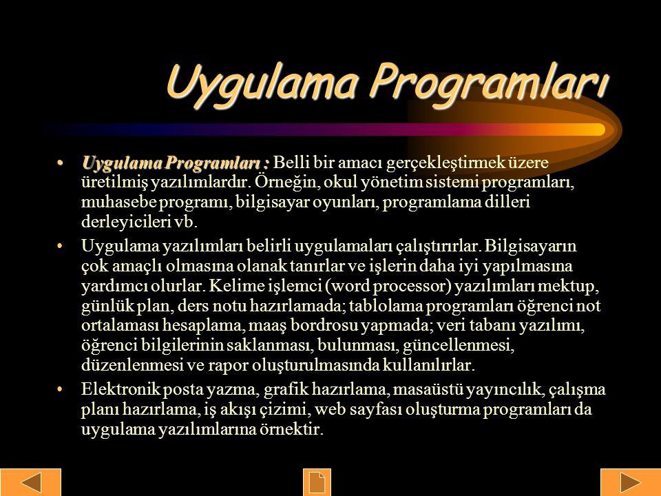 Uygulama Programları Uygulama Programları :Uygulama Programları : Belli bir amacı gerçekleştirmek üzere üretilmiş yazılımlardır. Örneğin, okul yönetim