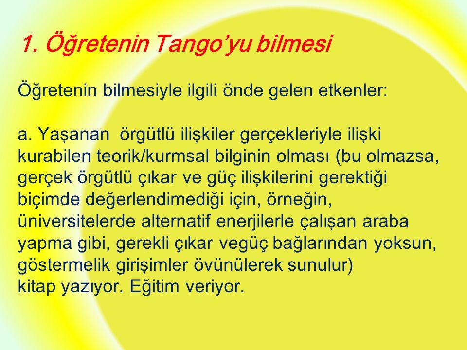 1. Öğretenin Tango'yu bilmesi Öğretenin bilmesiyle ilgili önde gelen etkenler: a.
