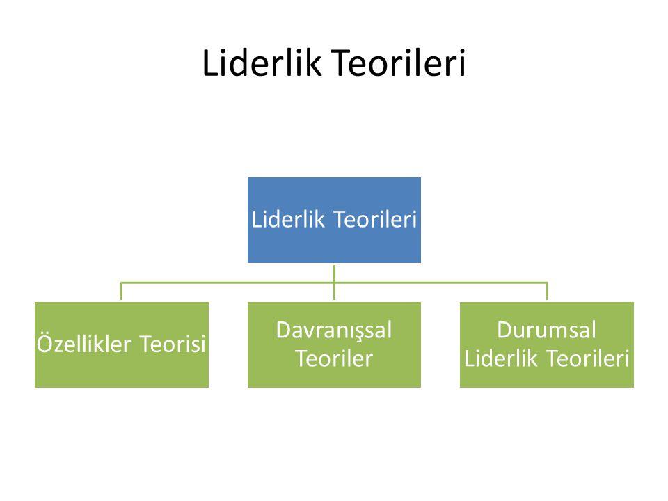 Liderlik Teorileri Özellikler Teorisi Davranışsal Teoriler Durumsal Liderlik Teorileri