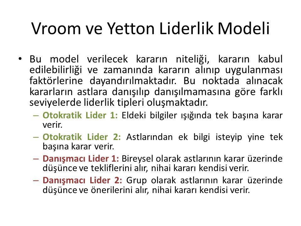 Vroom ve Yetton Liderlik Modeli Bu model verilecek kararın niteliği, kararın kabul edilebilirliği ve zamanında kararın alınıp uygulanması faktörlerine dayandırılmaktadır.