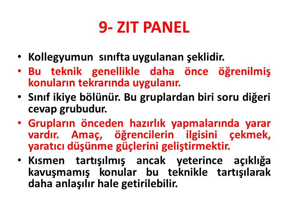 9- ZIT PANEL Kollegyumun sınıfta uygulanan şeklidir.