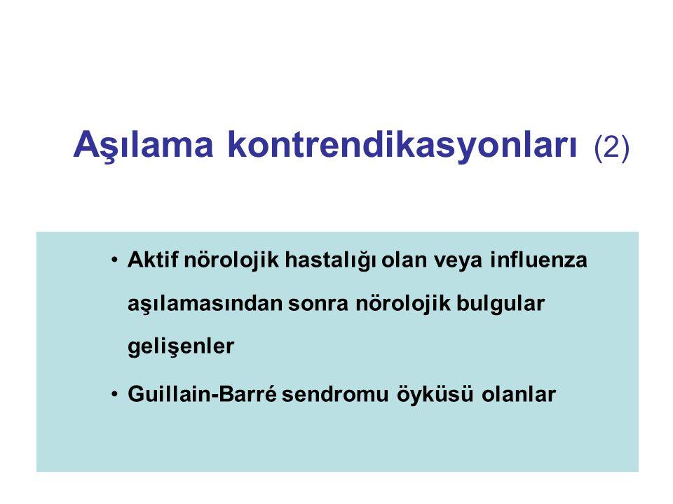 Aşılama kontrendikasyonları (2) Aktif nörolojik hastalığı olan veya influenza aşılamasından sonra nörolojik bulgular gelişenler Guillain-Barré sendrom