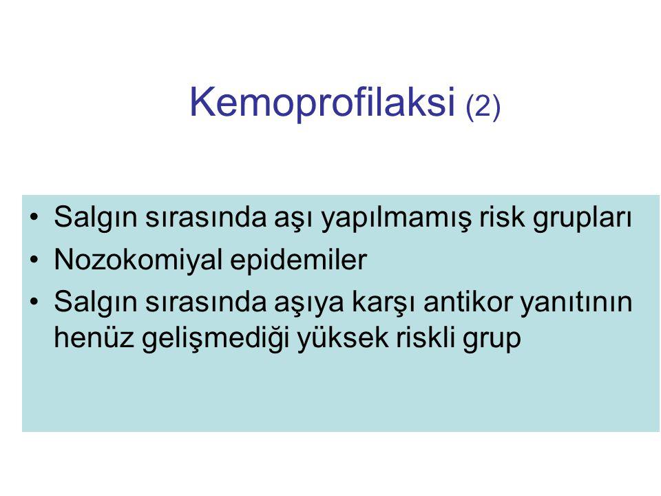 Kemoprofilaksi (2) Salgın sırasında aşı yapılmamış risk grupları Nozokomiyal epidemiler Salgın sırasında aşıya karşı antikor yanıtının henüz gelişmedi
