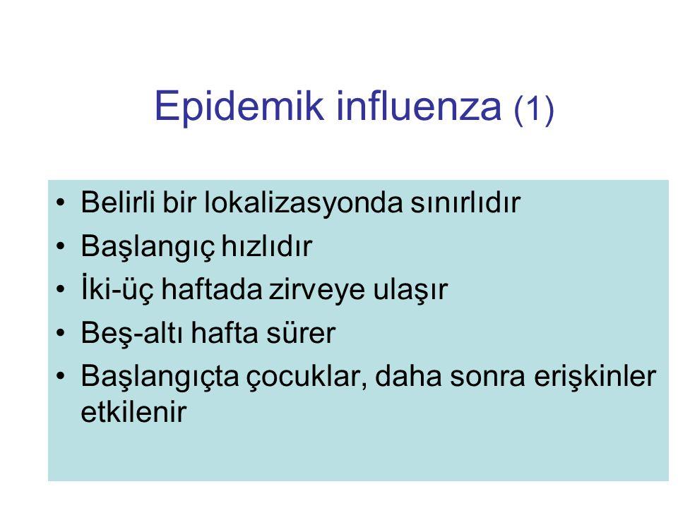 Epidemik influenza (1) Belirli bir lokalizasyonda sınırlıdır Başlangıç hızlıdır İki-üç haftada zirveye ulaşır Beş-altı hafta sürer Başlangıçta çocukla