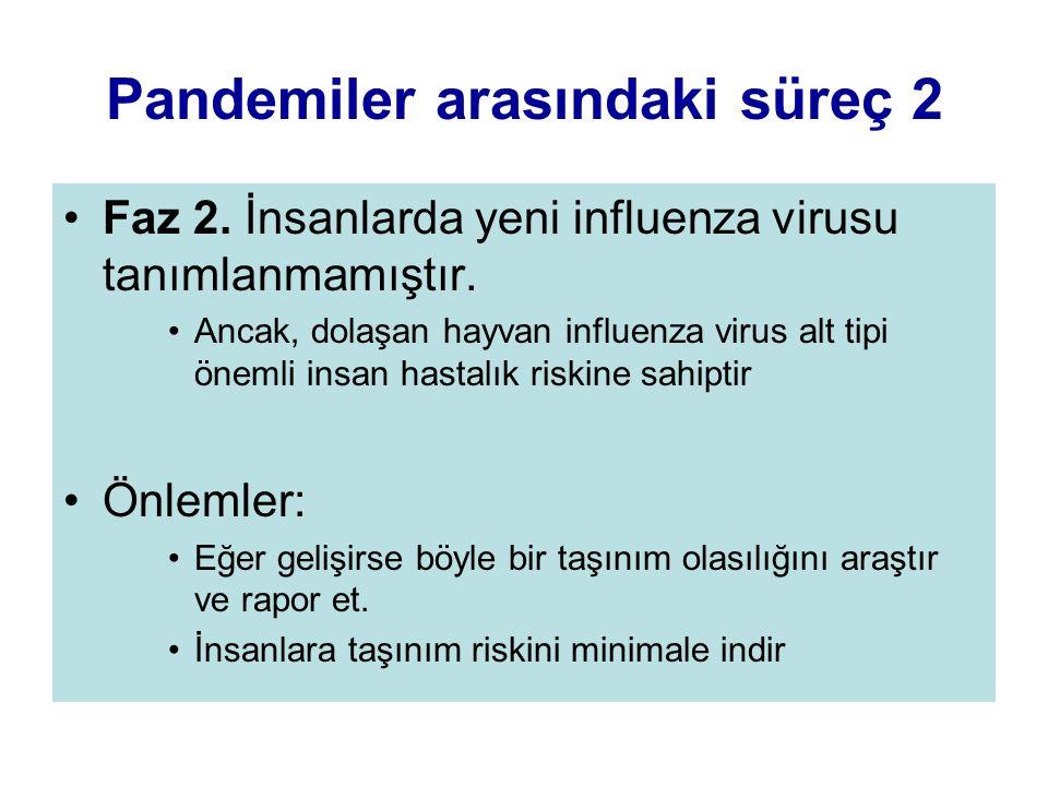 Pandemiler arasındaki süreç 2 Faz 2. İnsanlarda yeni influenza virusu tanımlanmamıştır. Ancak, dolaşan hayvan influenza virus alt tipi önemli insan ha