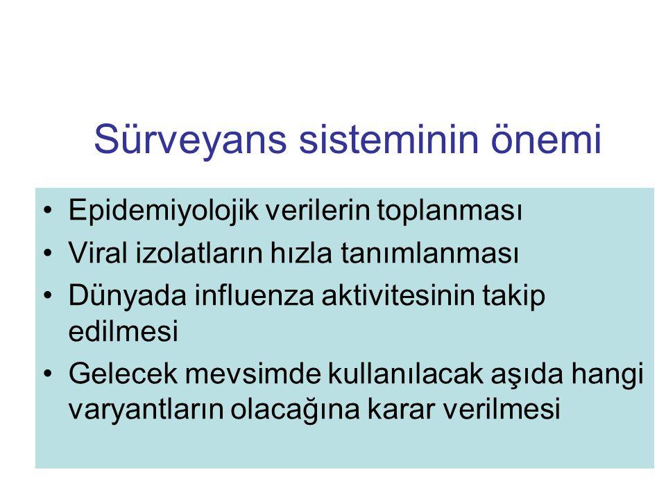 Sürveyans sisteminin önemi Epidemiyolojik verilerin toplanması Viral izolatların hızla tanımlanması Dünyada influenza aktivitesinin takip edilmesi Gel