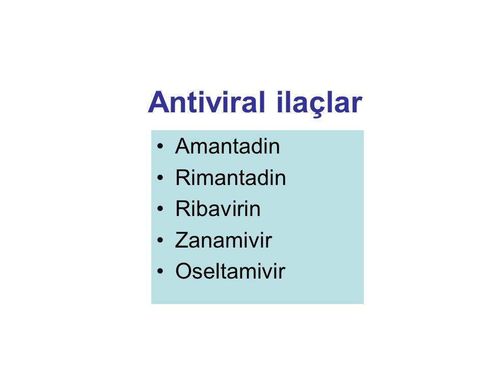 Antiviral ilaçlar Amantadin Rimantadin Ribavirin Zanamivir Oseltamivir