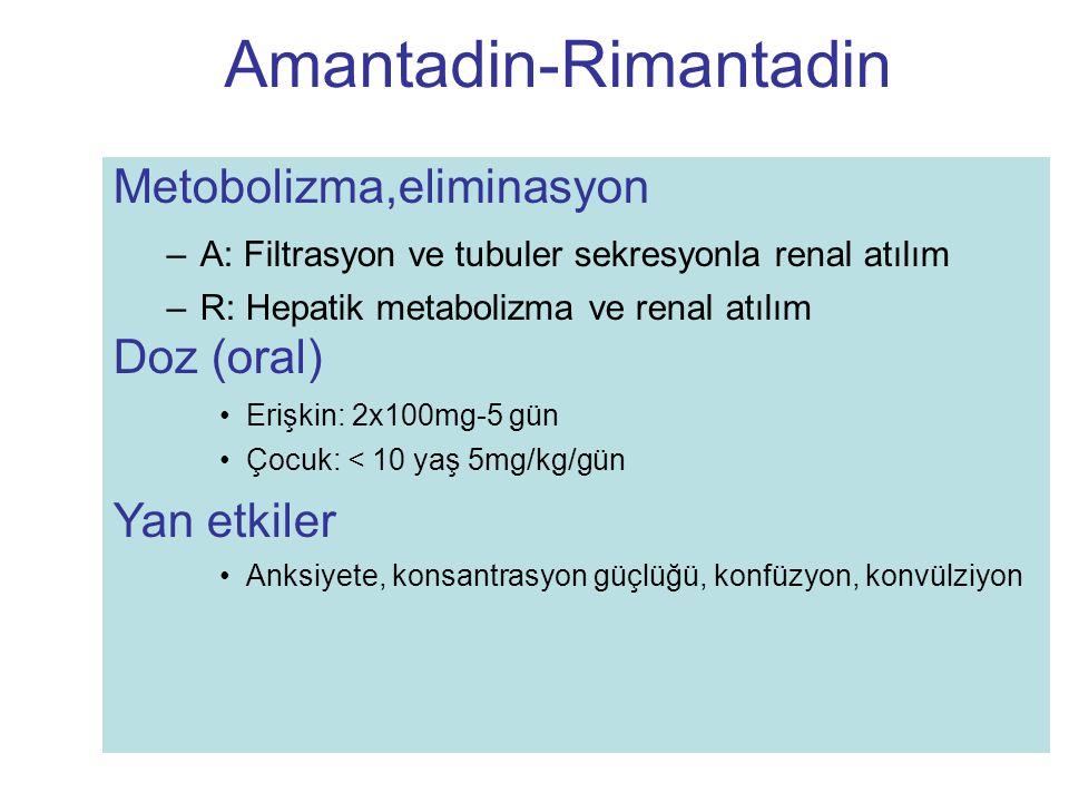 Metobolizma,eliminasyon –A: Filtrasyon ve tubuler sekresyonla renal atılım –R: Hepatik metabolizma ve renal atılım Doz (oral) Erişkin: 2x100mg-5 gün Ç