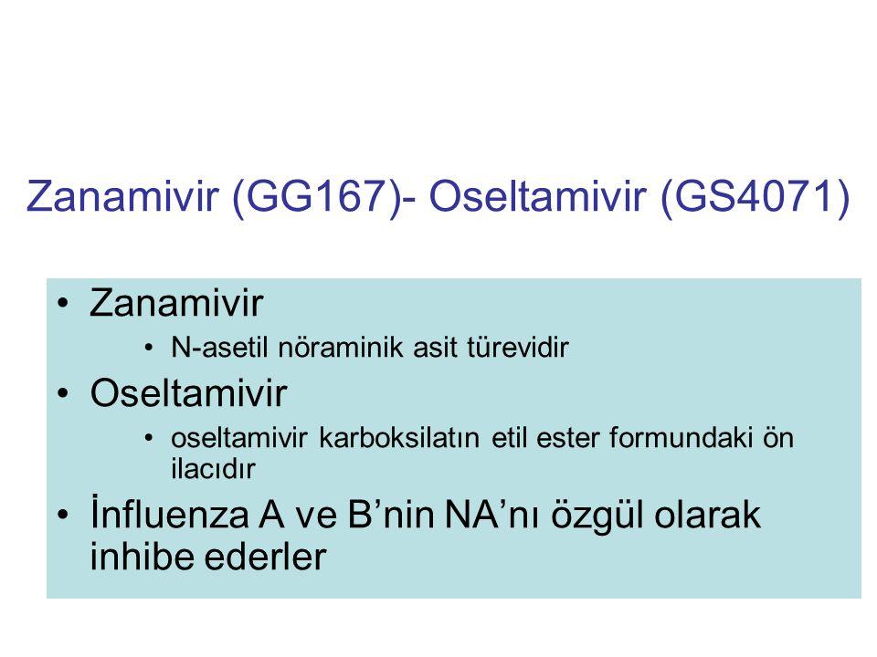 Zanamivir (GG167)- Oseltamivir (GS4071) Zanamivir N-asetil nöraminik asit türevidir Oseltamivir oseltamivir karboksilatın etil ester formundaki ön ila