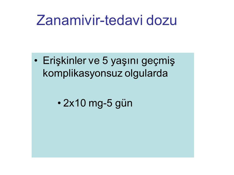 Zanamivir-tedavi dozu Erişkinler ve 5 yaşını geçmiş komplikasyonsuz olgularda 2x10 mg-5 gün