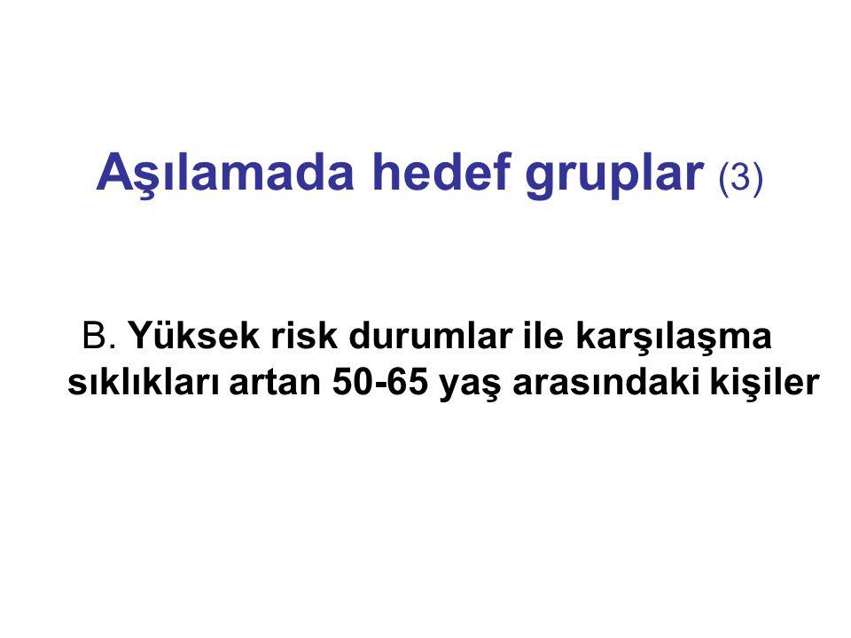 Aşılamada hedef gruplar (3) B. Yüksek risk durumlar ile karşılaşma sıklıkları artan 50-65 yaş arasındaki kişiler