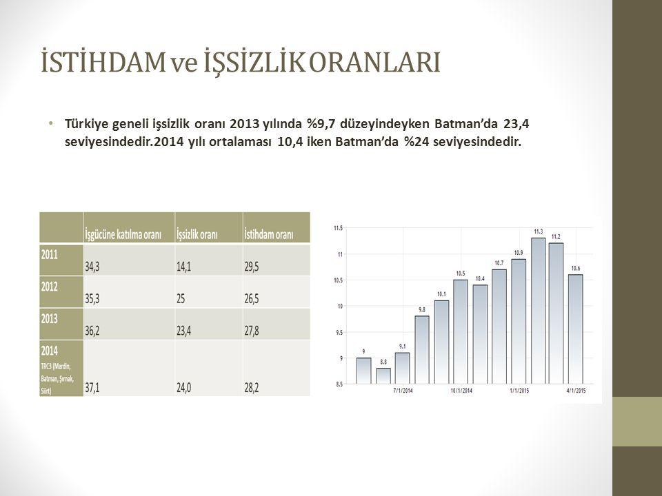 İSTİHDAM ve İŞSİZLİK ORANLARI Türkiye geneli işsizlik oranı 2013 yılında %9,7 düzeyindeyken Batman'da 23,4 seviyesindedir.2014 yılı ortalaması 10,4 iken Batman'da %24 seviyesindedir.