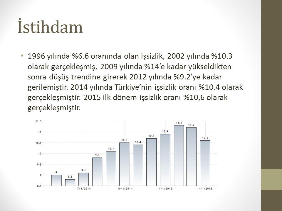 İstihdam 1996 yılında %6.6 oranında olan işsizlik, 2002 yılında %10.3 olarak gerçekleşmiş, 2009 yılında %14'e kadar yükseldikten sonra düşüş trendine girerek 2012 yılında %9.2'ye kadar gerilemiştir.