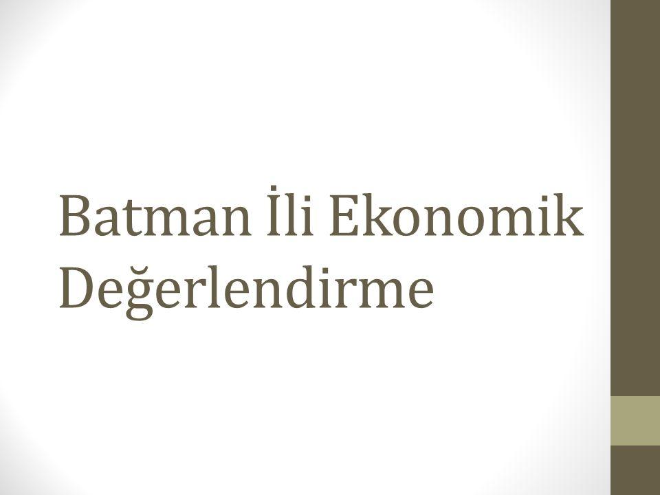 Batman İli Ekonomik Değerlendirme