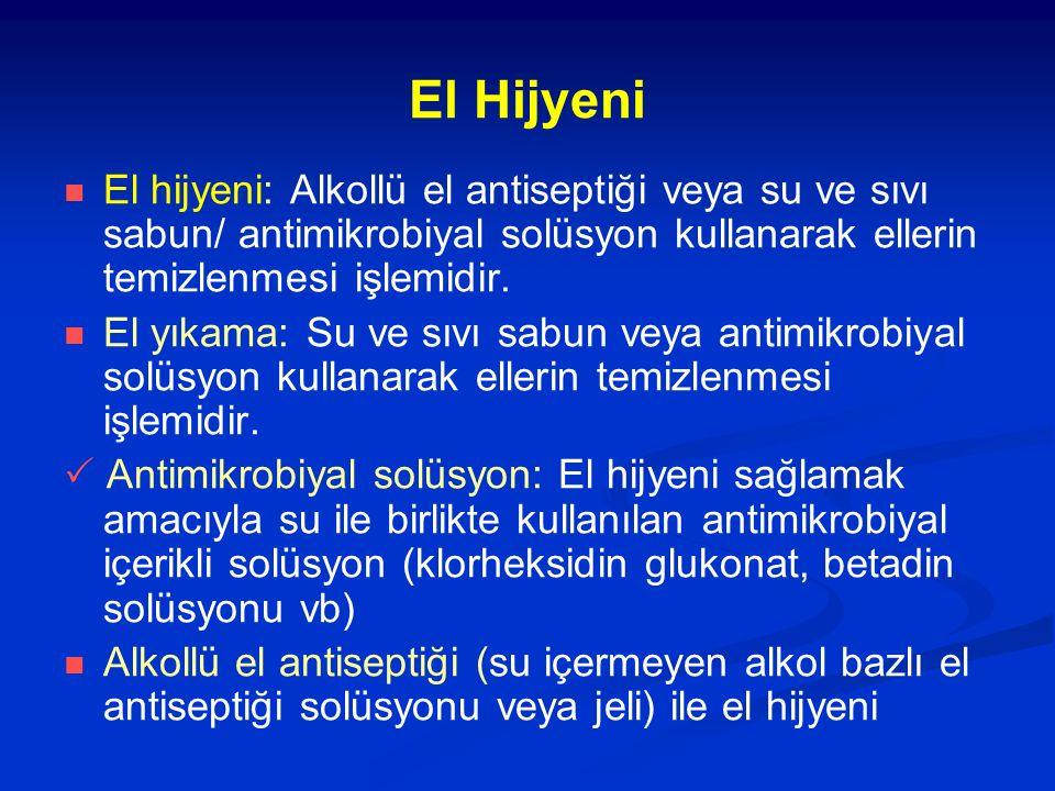 El Hijyeni El hijyeni: Alkollü el antiseptiği veya su ve sıvı sabun/ antimikrobiyal solüsyon kullanarak ellerin temizlenmesi işlemidir. El yıkama: Su