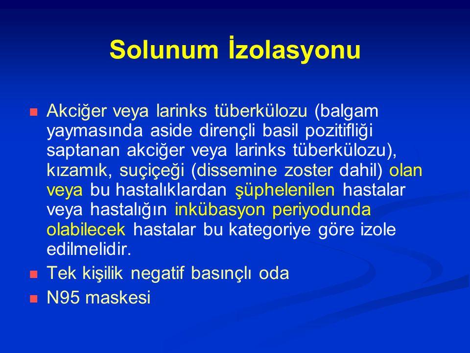 Solunum İzolasyonu Akciğer veya larinks tüberkülozu (balgam yaymasında aside dirençli basil pozitifliği saptanan akciğer veya larinks tüberkülozu), kı