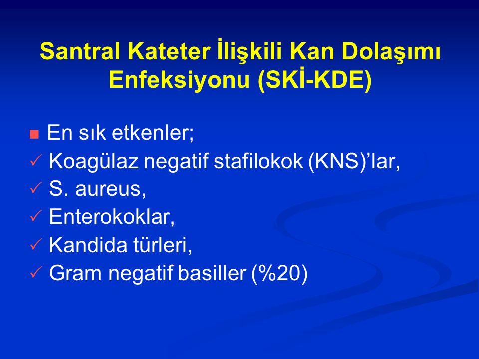 Santral Kateter İlişkili Kan Dolaşımı Enfeksiyonu (SKİ-KDE) En sık etkenler;  Koagülaz negatif stafilokok (KNS)'lar,  S. aureus,  Enterokoklar,  K