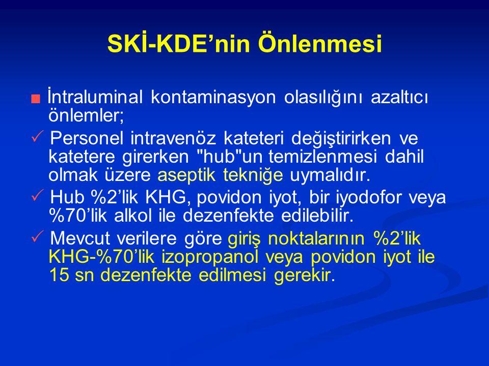 SKİ-KDE'nin Önlenmesi ■ İntraluminal kontaminasyon olasılığını azaltıcı önlemler;  Personel intravenöz kateteri değiştirirken ve katetere girerken