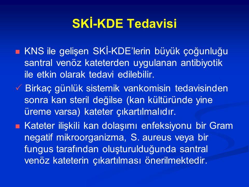 SKİ-KDE Tedavisi KNS ile gelişen SKİ-KDE'lerin büyük çoğunluğu santral venöz kateterden uygulanan antibiyotik ile etkin olarak tedavi edilebilir.  Bi