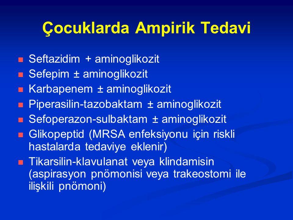 Çocuklarda Ampirik Tedavi Seftazidim + aminoglikozit Sefepim ± aminoglikozit Karbapenem ± aminoglikozit Piperasilin-tazobaktam ± aminoglikozit Sefoper