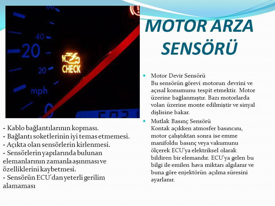 MOTOR ARZA SENSÖRÜ Motor Devir Sensörü Bu sensörün görevi motorun devrini ve açısal konumunu tespit etmektir. Motor üzerine bağlanmıştır. Bazı motorla