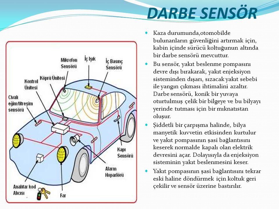 DARBE SENSÖR Kaza durumunda,otomobilde bulunanların güvenliğini artırmak için, kabin içinde sürücü koltuğunun altında bir darbe sensörü mevcuttur. Bu