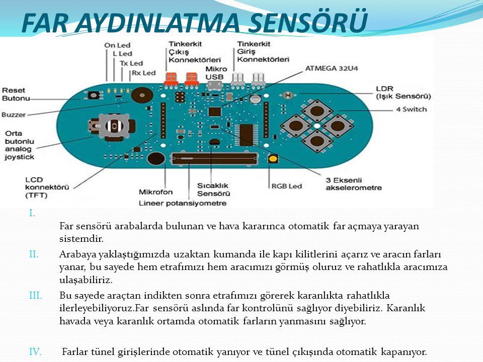 FAR AYDINLATMA SENSÖRÜ I. Far sensörü arabalarda bulunan ve hava kararınca otomatik far açmaya yarayan sistemdir. II. Arabaya yaklaştığımızda uzaktan