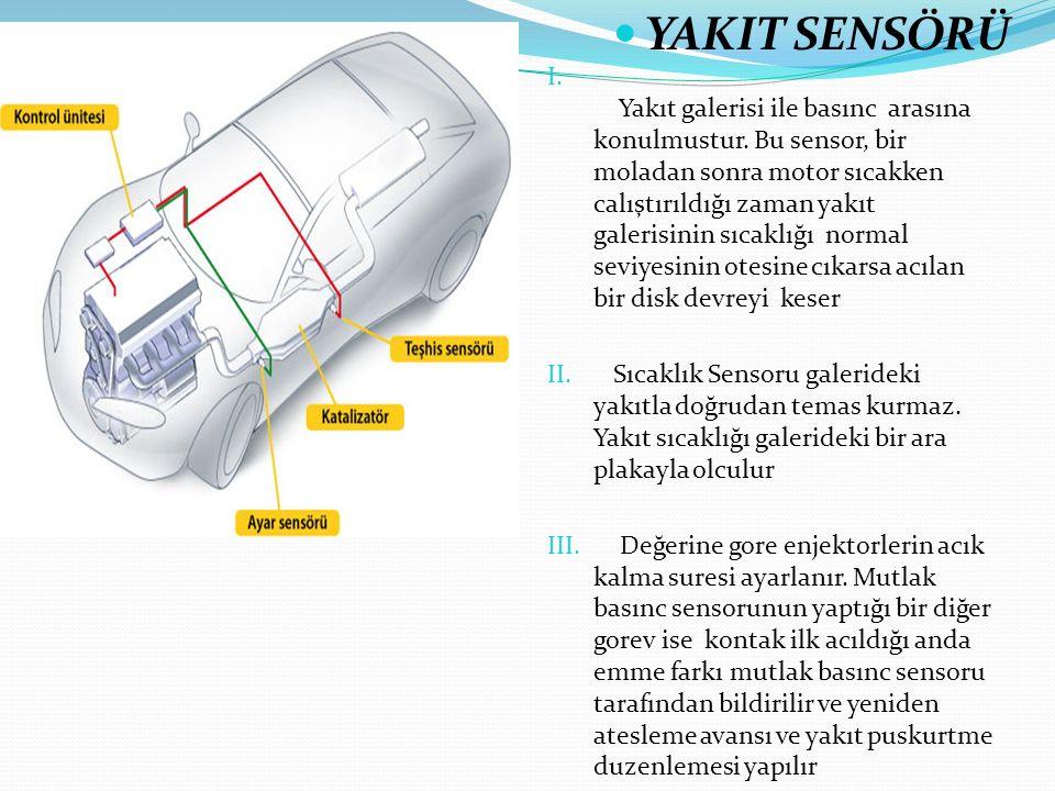 I. Yakıt galerisi ile basınc arasına konulmustur. Bu sensor, bir moladan sonra motor sıcakken calıştırıldığı zaman yakıt galerisinin sıcaklığı normal