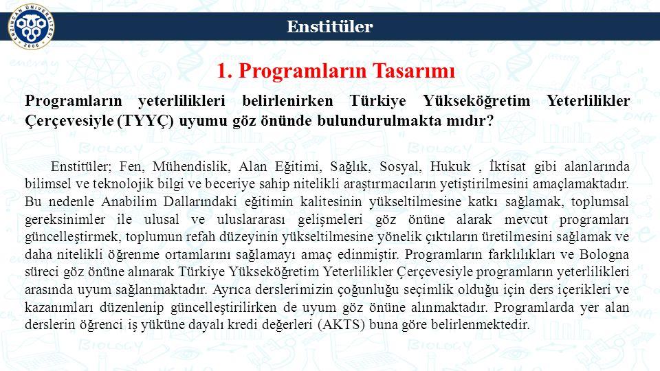 1. Programların Tasarımı Programların yeterlilikleri belirlenirken Türkiye Yükseköğretim Yeterlilikler Çerçevesiyle (TYYÇ) uyumu göz önünde bulundurul