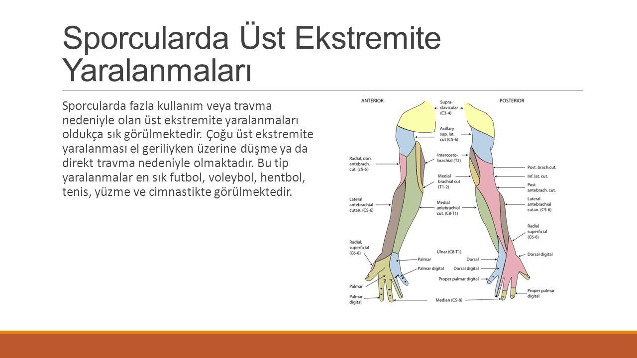 Sporcularda Üst Ekstremite Yaralanmaları Sporcularda fazla kullanım veya travma nedeniyle olan üst ekstremite yaralanmaları oldukça sık görülmektedir.