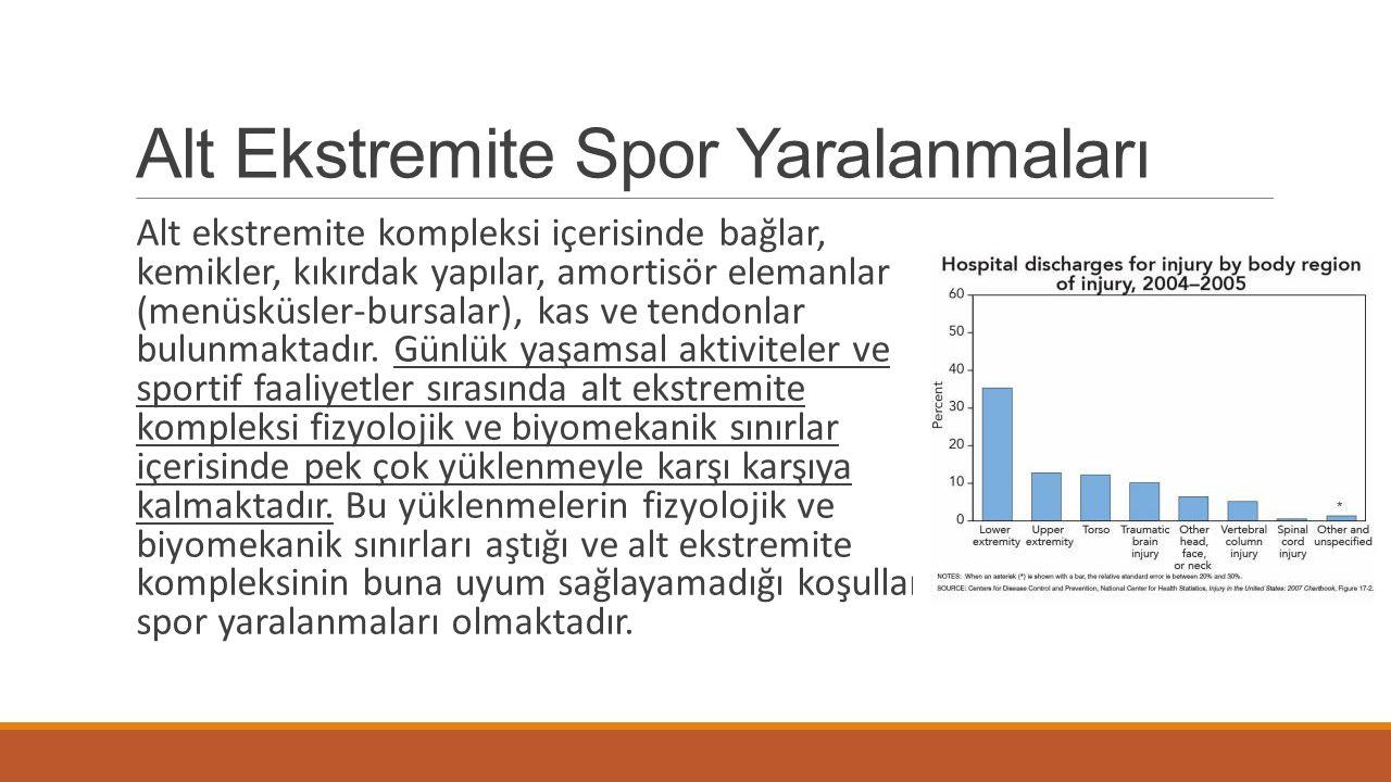 Alt Ekstremite Spor Yaralanmaları Alt ekstremite kompleksi içerisinde bağlar, kemikler, kıkırdak yapılar, amortisör elemanlar (menüsküsler-bursalar),