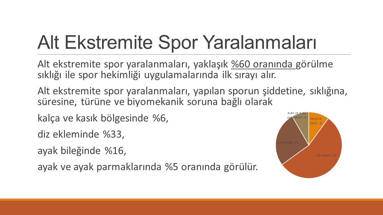 Alt Ekstremite Spor Yaralanmaları Alt ekstremite spor yaralanmaları, yaklaşık %60 oranında görülme sıklığı ile spor hekimliği uygulamalarında ilk sıra