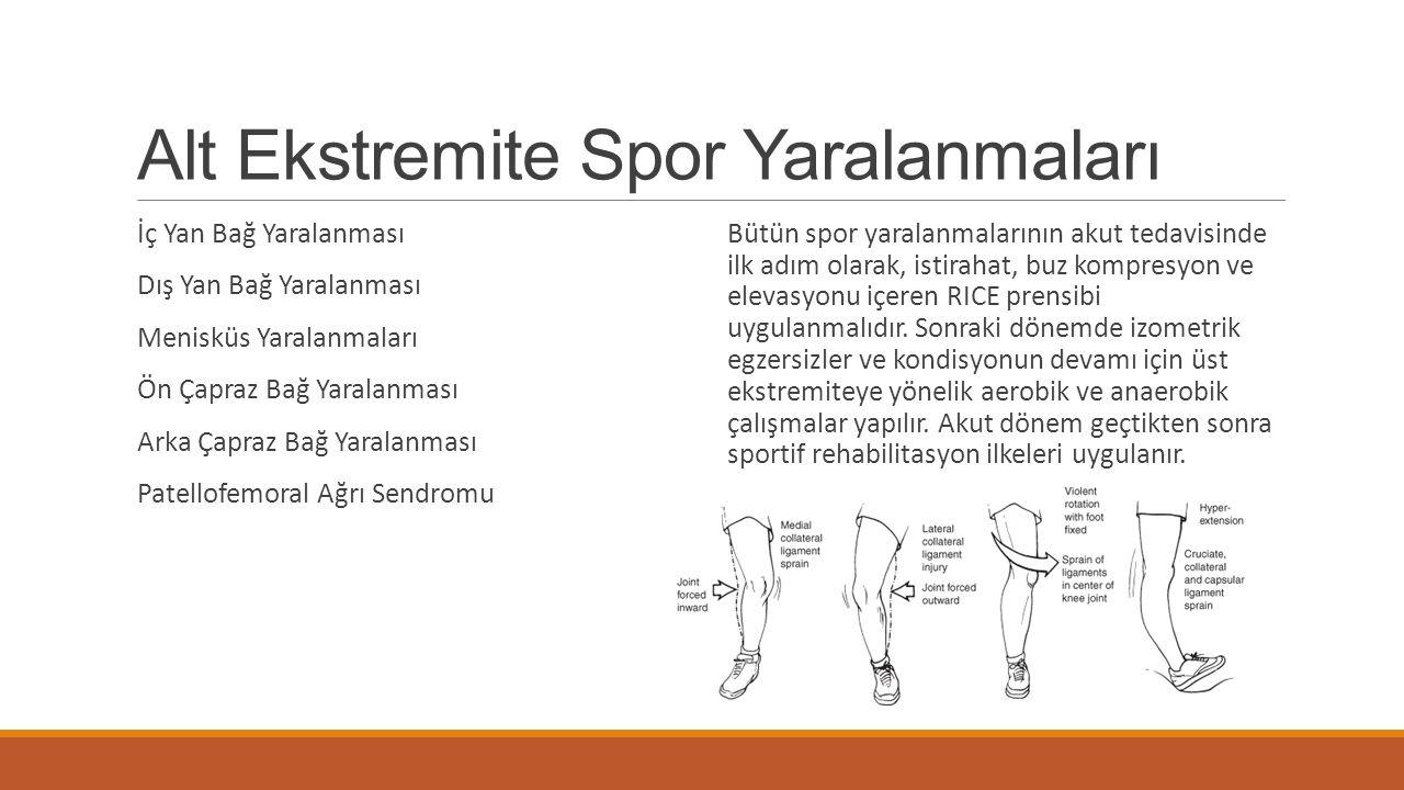Alt Ekstremite Spor Yaralanmaları İç Yan Bağ Yaralanması Dış Yan Bağ Yaralanması Menisküs Yaralanmaları Ön Çapraz Bağ Yaralanması Arka Çapraz Bağ Yara