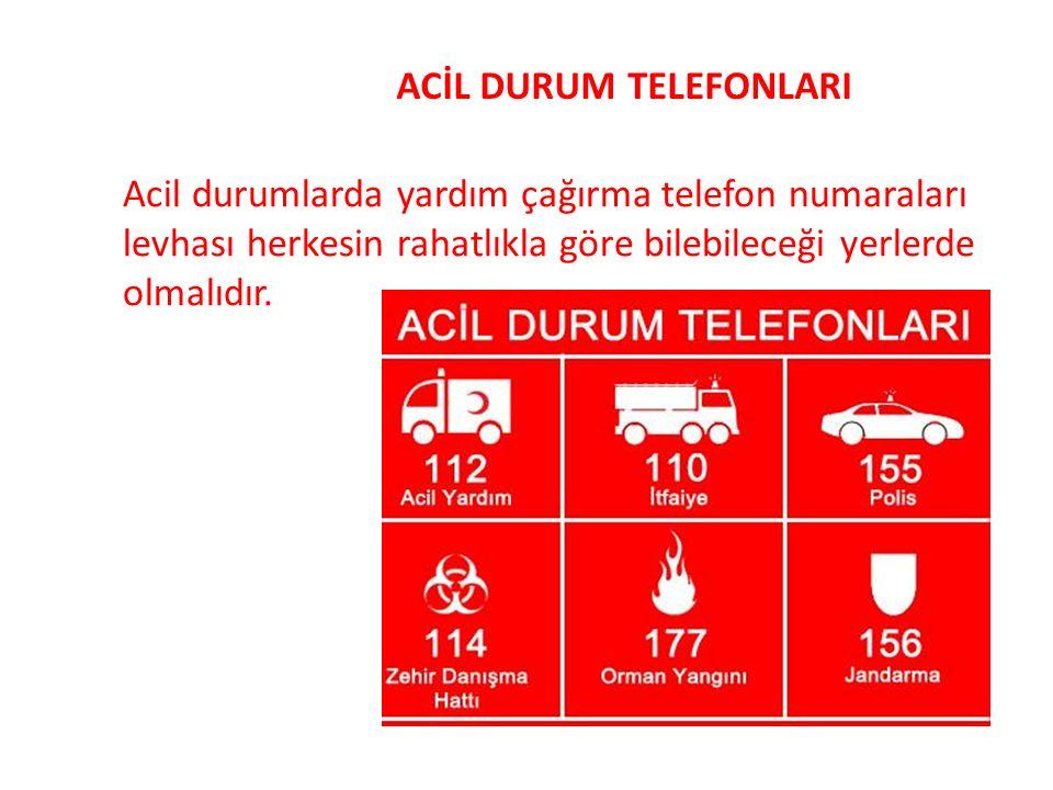 ACİL DURUM TELEFONLARI Acil durumlarda yardım çağırma telefon numaraları levhası herkesin rahatlıkla göre bilebileceği yerlerde olmalıdır.