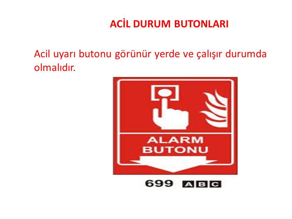 ACİL DURUM BUTONLARI Acil uyarı butonu görünür yerde ve çalışır durumda olmalıdır.