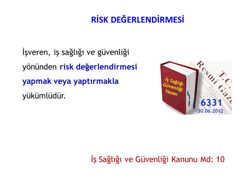RİSK DEĞERLENDİRMESİ İşveren, iş sağlığı ve güvenliği yönünden risk değerlendirmesi yapmak veya yaptırmakla yükümlüdür. İş Sağlığı ve Güvenliği Kanunu