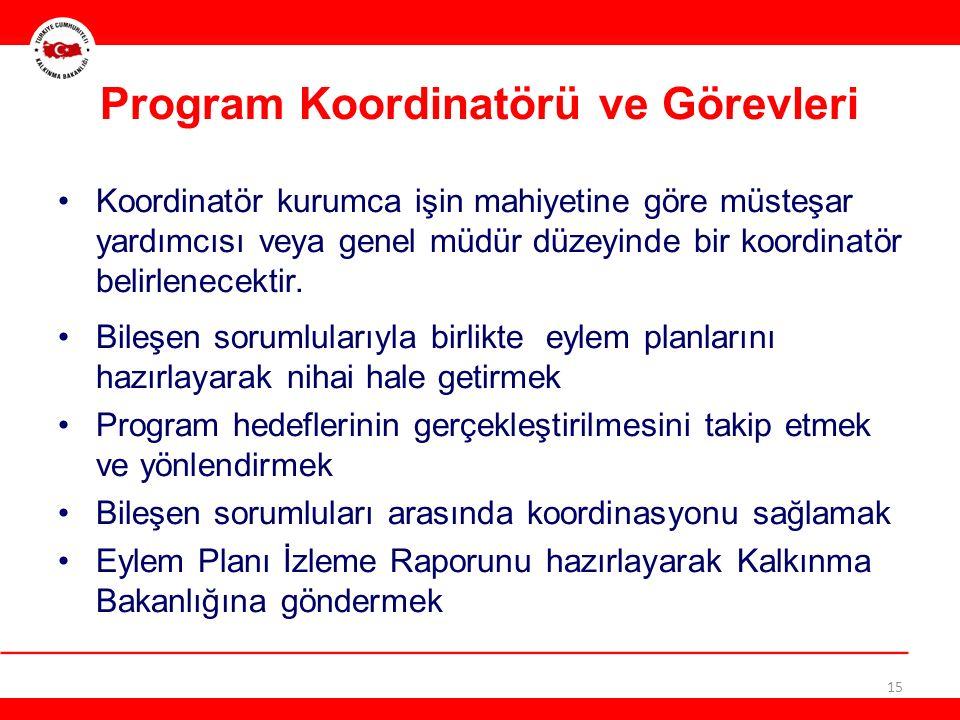 15 Program Koordinatörü ve Görevleri Koordinatör kurumca işin mahiyetine göre müsteşar yardımcısı veya genel müdür düzeyinde bir koordinatör belirlenecektir.